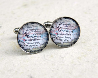 Knoxville Map Cufflinks Cuff Link Set  - CHOOSE Your favorite map from 25 maps - Custom map jewelry and accessories