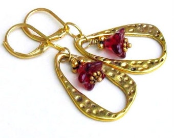 Gold Teardrop Floral Earrings, Brass Leverbacks, Garnet Red Glass Flowers in Hammered Teardrops