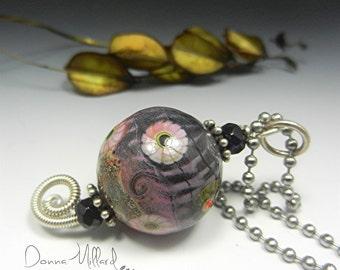 SRA Handmade Necklace Donna Millard lampwork beads boho tribal hippie hip bohemian gift her autumn fall christmas