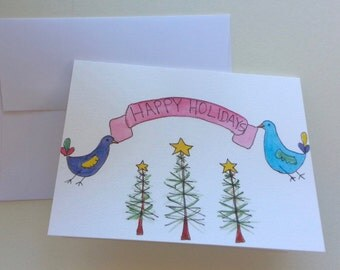 Original watercolor and pen greeting card JOY PEACE CHEERS