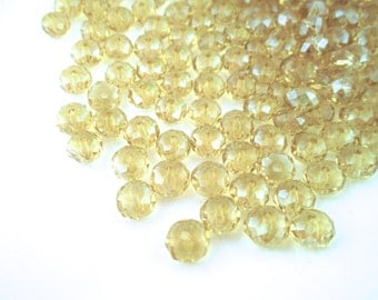 12 Czech glass crystal beads, faceted abacus rondelle (golden yellow citrine) FA8, 8x6mm