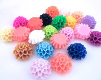 25 21mm multicolor mum cabochons, chrysanthemum cabs