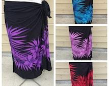 Black palm and plumeria print full sized-rayon- sarong-, pareo, pareau -fringeless-Tahitian costume, Tahitian pareo,4 colors