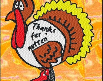 Turkey Embroidery Design for Thanksgiving