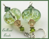 Sage Green & Sterling Silver Handmade Lampwork Bead Earrings, SRAJD