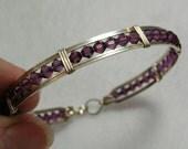 Glittery Amethyst Purple Swarovski Crystal Sterling Wire-Wrapped Bracelet