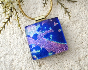 Blue Pink Dichroic Necklace, Gold Necklace, Dichroic Glass Necklace, Fused Glass Jewelry, Dichroic Jewelry, Dichroic Pendant, 061516p102