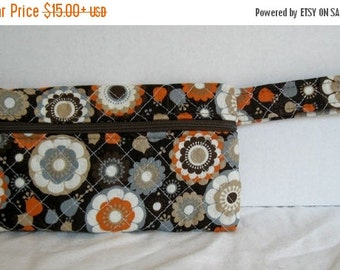 40% Off Fall Quilted Wristlet - Brown Orange Grey Floral Print - Wrist Style Purse - Wallet with Strap - Cellphone Purse - Small Fall Floral
