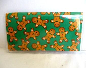 HALF OFF Gingerbread Checkbook Holder - Gingerbread Cover Duplicate Checks - Cash Holder - Gingerbread Men GREEN - Vinyl Checkbook