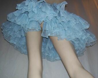 Vintage Sheer Blue Crinoline Halloween Costume Slip Petticoat vtg Tutu Sky Short Sassy Huge Rave Club Square Dance Fluffy Skirt Adult S M L