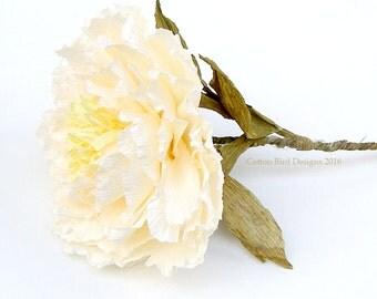 First Anniversary Paper Flower Single Stem Cream Peony