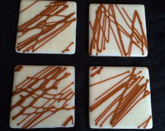 "Set of 4 coasters 4"" Fused glass square One of a kind vanilla brown"