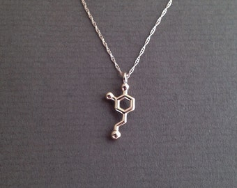 tiny dopamine necklace in solid 14K rose gold