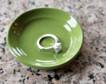 Wee Dish - Ring Holder - Spring Time Green Pottery Ring Dish - 3 inches wide