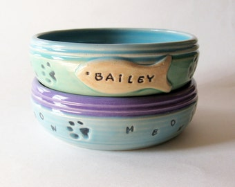 Bowl with Pet Name, Custom Cat Food Bowl,  Ceramic Pottery Personalized with Name and Made to Order for You