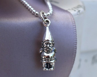 Garden Gnome necklace - Sterling silver with SS chain