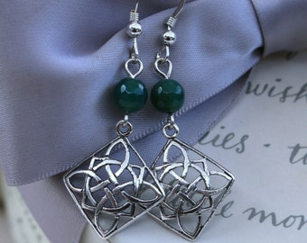 Sterling Silver Celtic Diamond shaped earrings with your choice of stone or crystal
