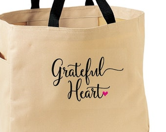 Grateful Heart Thankful Embroidered Tote Bag