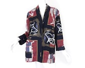 Vintage 80s 90s Oversized Abstract Print Womens Blazer - Petite Medium - Rayon Black, Red, White, Gold Big Long Jacket Single Button Blazer