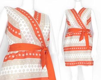 Sz 14 60s Mod Striped Mini Dress - Women's Vintage Wrap Front Orange and Cream Sleeveless Dress