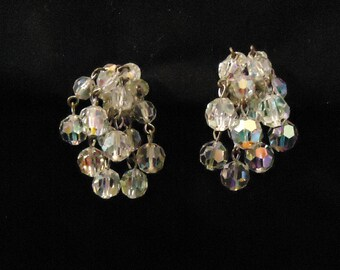 Glass Crystals Clip On Earrings Dangle Style Iridescent Looking Clear Beads 1960's Vintage Costume Jewelry Accessories