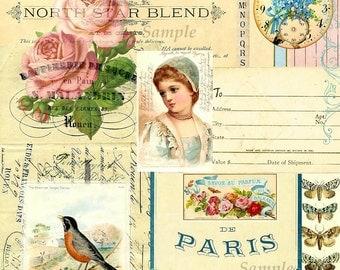 Vintage Ephemera Collage and BONUS Coordinating Tag Set #1 Digital Printable INSTANT DOWNLOAD