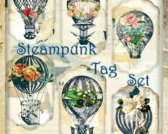 Steampunk Hot Air Balloons and Vintage Roses Tags Digital Printable INSTANT DOWNLOAD