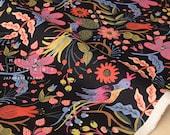 Cotton + Steel Les Fleurs canvas - folk birds - black - fat quarter