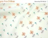Japanese Kei Fabric Megumi Sakakibara - Hanamoyou - orange and green on pale green - 50cm