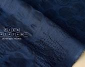 Japanese Fabric Textured Enshuku voile - retro flowers - navy blue -  50cm