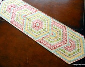 Quilted Table Runner, Reversible, Apples, Strawberries, Gingham & Flowers, Triangle Frenzy Pattern, Handmade Table Linens
