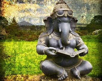 GANESH, Hindu Deity, God of Obstacles, Meditation Art, Ireland Photo, Elephant God, Buddhist Decor, Good Fortune,  Hippie Decor, Wicklow