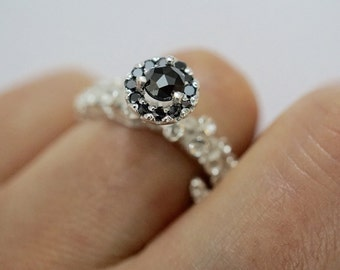 Octopus tentacle engagement Ring, silver platinum engagement ring, black diamond engagement ring, adjustable ring by Zulasurfing