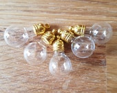 5 Small Round Bulb Glass Vial Bottle Pendants with Silver or Gold Caps