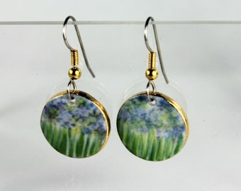 Purple Flower Earrings Monet's Garden Dangle Porcelain Clay Earrings