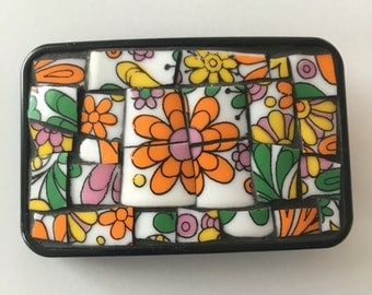 Flower Power Mod Mosaic Belt Buckle