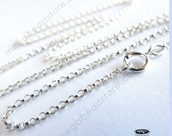 2 pcs 1.1mm Rolo Chain 18 inch Necklace 925 Sterling Silver FC3