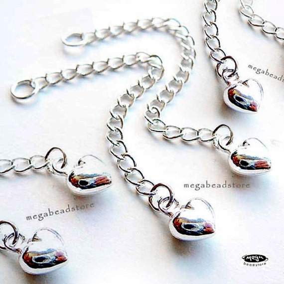 4 pcs 2.25 inches 925 Sterling Silver Puff Heart Extension Chains F240
