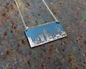 Cincinnati Ohio city skyline necklace | Cincinnati skyline pendant in copper or brass | jewelry for her