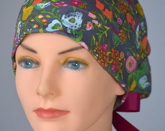 SMALL Surgical Scrub Cap or Cancer Hat -Perfect Fit Tie Back with Ribbon Ties - Nightfall