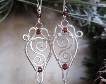 Sale - SuperGirl Earrings - Ornate Red Garnet Wire Wrapped Earrings