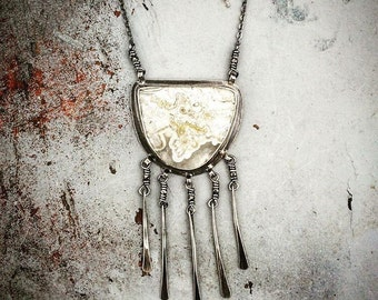 Move With Me. Crazy Lace Agate Fringe Tassel Sterling Silver Handmade Necklace
