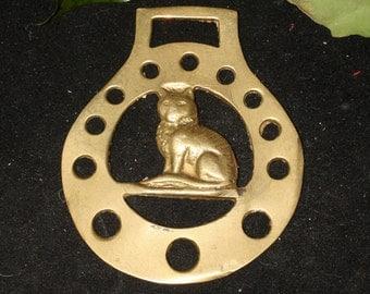 Vintage or Antique Cat Horse Brass - Luck - Folk Magic, British, Pagan, Wisdom - Rare