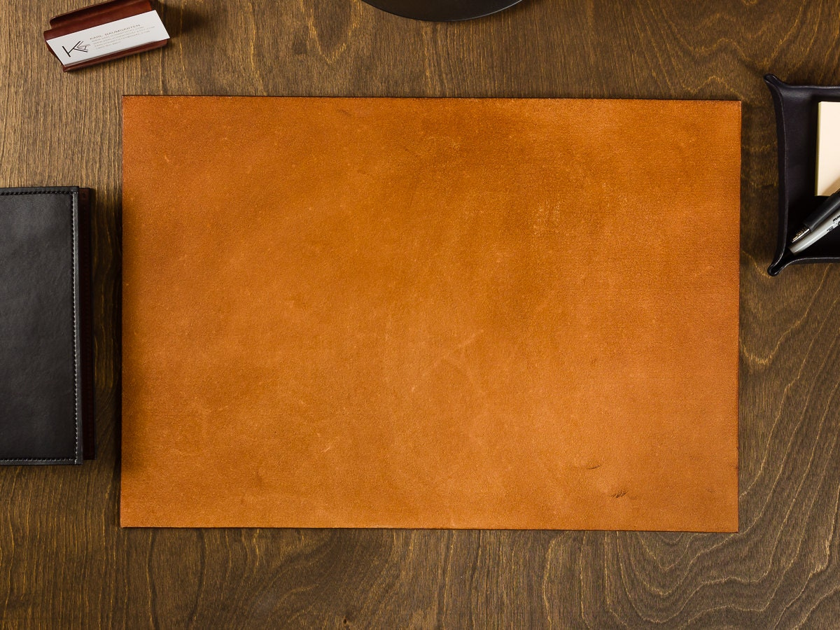 Full Grain Leather Desk Pad Blotter By Karlvonartistry