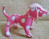 Pink and White Polka Felt Pup