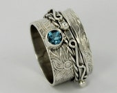 MADE TO ORDER - Spinner Ring with facted gem stone - Handcrafted Sterling Silver