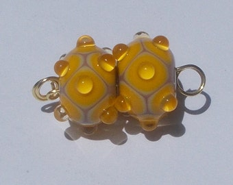 Made To Order Lampwork Bead Pair Yellow By Cheryl's Art