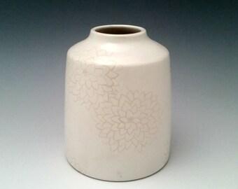 White on White Ceramic Bud Vase