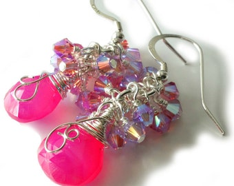 Gemstone Cluster Earrings, Hot Pink Chalcedony Briolettes, Swarovski Crystals, Sterling Silver, Drops, Beaded Jewelry, Luxe Beaded Earrings