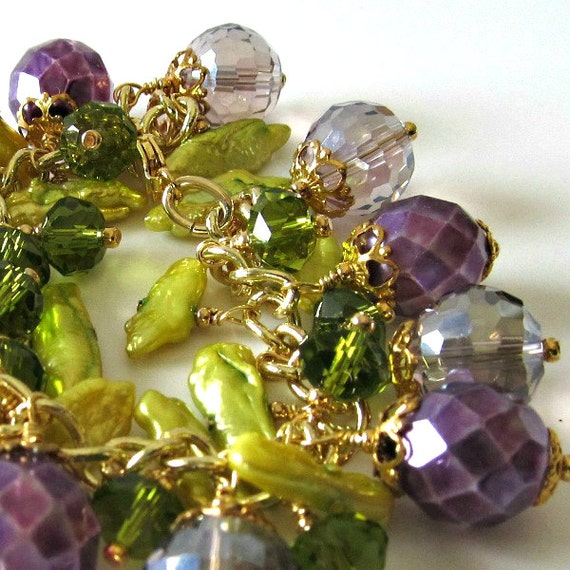 ON SALE...was 72 now 58, Beaded Bracelet,  Lavender, Purple, Lime,Green Crystals, Freshwater Pearls, Charm Bracelet, Gold Beaded Jewelry,